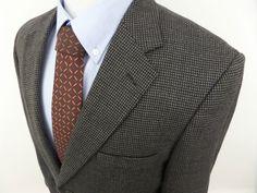 PRONTO UOMO Men's Houndstooth Two Button Blazer Jacket Sports Coat sz 40 R #ProntoUomo #TwoButton