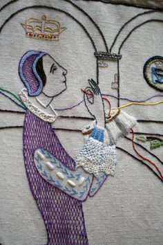 Great Tapestry of Scotland Panel Mary Queen of Scots dreaming and stitching through her captivity. That is an incredible tapestry. James V Of Scotland, Mary Queen Of Scots, Photography Illustration, Tudor History, Casket, Textile Art, Fiber Art, Needlework, Weaving