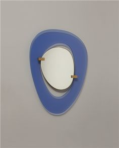 Max Ingrand; Glass, Brass and Wood Wall Mirror for Fontana Arte, c1955.