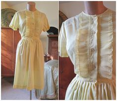 Sweet early 1960s Pale Yellow Day Dress with by dandelionvintage, $28.00