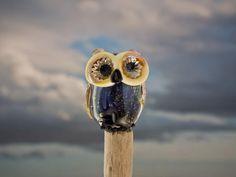 Rain lampwork owl bead sra by DeniseAnnette on Etsy, $24.00