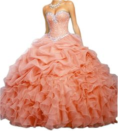 cc9512a51a8 HTYS Women s Sweetheart Ball Gown Organza Quinceanera Dresses With Beads  HY069   Discover this special product