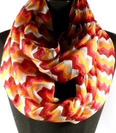 Peach Multi Color Chevron Pattern Infinity Scarf