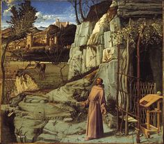GIOVANNI BELLINI, c. 1430 - 1516: St Francis in ecstasy (detail). Oil on panel, 124'4 x 141'9.