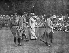 George V and Queen Mary during WWI with Colonel Watt, and Lady Astor.