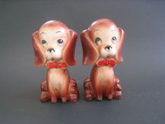 Mid Century vintage salt and pepper shaker set. brown dogs with red bow ties, sad blue eyes. by PickleladyVintage on Etsy