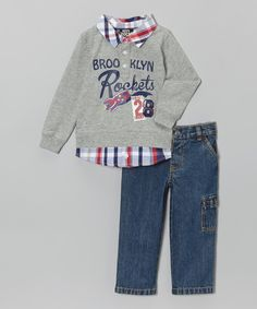 This Gray 'Brooklyn Rockets' Pullover & Jeans - Infant & Toddler by Boys Rock is perfect! #zulilyfinds