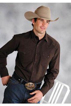 Men's Roper 6962 Black Fill Oxford Brown Amarillo Collec Western Wear