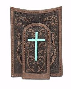 Money Clips 163583: Ariat Western Mens Wallet Money Clip Floral Turquoise Cross Brown A3527202 -> BUY IT NOW ONLY: $30 on eBay!