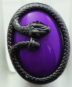 Gunmetal Snake Statement Ring/Purple/Gift For by victoriascharms