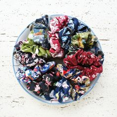 Japanese Rabbit Hair Scrunchies High Quality Cotton Hair Accessories Handmade in UK Oriental Hair Ties Traditional Japanese Fabric