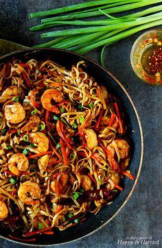 - Shrimp Hakka Noodles - a indochinese dish - use fettucini noodles and some tsp of hot curry powder...mayK
