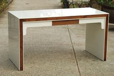 Vintage White Lacquered Solid Wood Parsons Desk