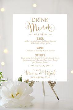 Trinken Sie Menü Zeichen - 5 x 7 oder 8 x 10 oder 11 x 14 - personalisiert - Bella zu und gemischt Gold Fonts - ich erstellen und Drucken von CharmingEndeavours auf Etsy https://www.etsy.com/de/listing/262993082/trinken-sie-menu-zeichen-5-x-7-oder-8-x