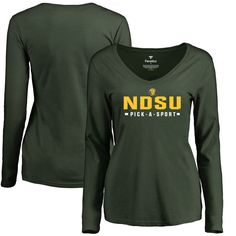 NDSU Bison Women's Custom Sport Slim Fit Long Sleeve T-Shirt - Green