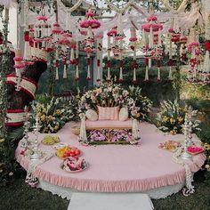 13 Cheerful & Striking Decor Setups For Your Mehndi Ceremony Desi Wedding Decor, Wedding Stage Decorations, Engagement Decorations, Wedding Mandap, Backdrop Decorations, Floral Wedding, Marriage Decoration, Background Decoration, Wedding Entrance