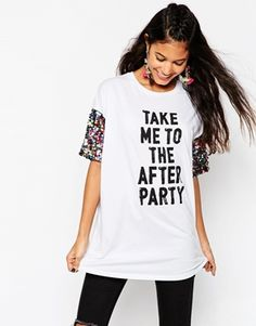 ASOS T-Shirt With Print And Rainbow Sequin Sleeve