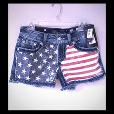 MISS ME RED WHITE & BLUE SEQUIN SHORTS!!! Miss Me shorts!  Size 28. Never worn. NWT Miss Me Shorts Jean Shorts