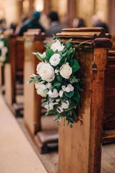 Elegant Navy & Gold Winter Wedding Styled by Liz Linkleter Events with Charlotte Simpson Bridal Gown Pew End White Wedding Flowers Love this – kat - Church Wedding Decorations Aisle, Wedding Ceremony Flowers, White Wedding Flowers, Flower Bouquet Wedding, Floral Wedding, Wedding Church, Church Weddings, Church Pew Flowers, Church Flower Arrangements