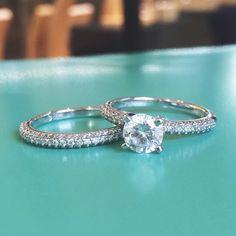 A stunning diamond engagement ring with a sparkling matching wedding band. #WeddingWednesday