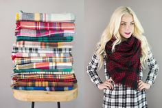 Sit by a cozy fire and sip something warm with wearing this adorable plaid blanket scarf. The perfect trendy accessory for the cold winter months ahead. Pick your favorite color at pickyourplum.com