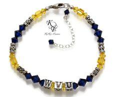 WVU Bracelet, West Virginia University, WVU Bracelet, Mountaineers Bracelet, Mountaineers Jewelry, WV Jewelry, Football Jewelry