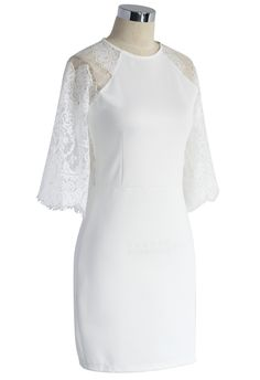 Lace Panel Shift Dress in White