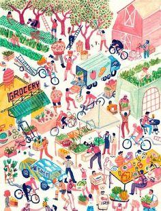 people mountaion people sea,插画师Monica Ramos我的首页 微博-随时随地发现新鲜事