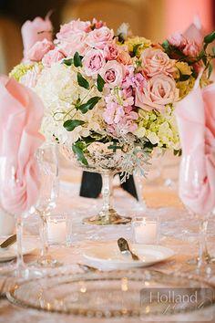 Roses upon roses and hydrangeas! Stunning #Wedding centerpiece! | Holland Photo Arts
