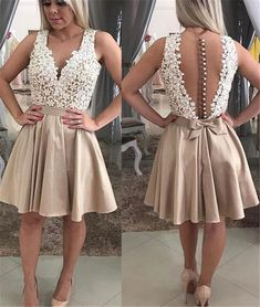 c791532eae9 A Line V Neck Illusion Back Short Champagne Satin Lace Beaded Prom Dress