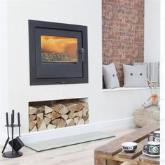 Picture of Loxton 10 Inset Inset Fireplace, Wood Burner Fireplace, Wood Burning Fireplace Inserts, Fireplace Built Ins, Home Fireplace, Fireplace Design, Fireplaces, Log Burner Living Room, Living Room Tv