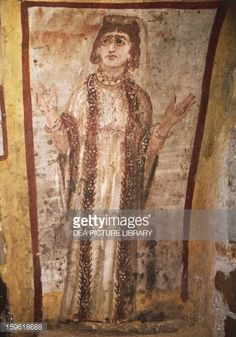 View top-quality stock photos of Praying Figure Male Figure Fresco Catacombs Of Jordanians Rome Italy Century. Early Christian, Christian Art, Fresco, Roman Clothes, Roman Fashion, Roman History, Roman Art, Orthodox Icons, Male Figure