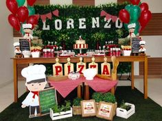 "A festa de 2 anos do Lorenzo foi com o tema: ""Pizza Party"". Arranjo de balões da… Pizza Party Birthday, First Birthday Parties, First Birthdays, 2nd Birthday, Italian Party Decorations, Party Table Decorations, Kids Pizza Party, Pizza Party Themes, Little Italy Party"