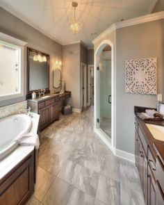 Master Bath: Double Vanities: Walk in Shower  http://www.bickimerhomes.com/