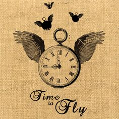 Time to Fly  wings watch clock men steampunk large image handwriting ephemera original gift tag label napkins burlap pillow Sheet n.763. $1.00, via Etsy.