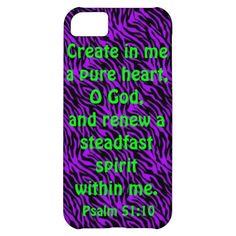 bible verse Psalm 51:10 iPhone 5c cover, also have this in other iPhone styles, iPads, iPods and Razr covers.