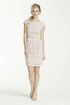 Short Lace Cap Sleeve Dress with Beaded Waist Style 3524FE5C, Ivory, 10 David's Bridal http://smile.amazon.com/dp/B00IXKU3NI/ref=cm_sw_r_pi_dp_uijewb098J4VQ