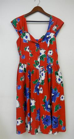 Vintage Dress 80s does 50s Red Floral Basque by PinkCheetahVintage, $72.00