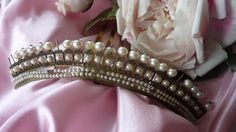 French Empire style faux pearl diadem comb tiara crown, the first half of the 1800's