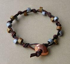 Beaded Leather Bracelet by Erin Siegel Jewelry, via #bracelet #gold| http://women-s-jewelry-250-861.blogspot.com