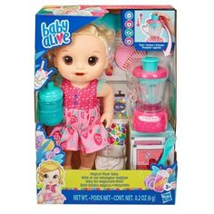 Buy Baby Alive: Magical Mixer Baby at Mighty Ape NZ. Baby Alive: Magical Mixer Baby Whipping up a pink treat for baby is so much fun with magical mixer baby doll's real working toy blender! Just open 1 . Muñeca Baby Alive, Baby Alive Dolls, Baby Alive Doll Clothes, Toys For Girls, Kids Toys, Toys Uk, Baby Shower Punch, Shower Baby, Baby Showers