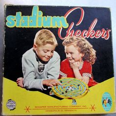 Stadium Checkers - this was one of many games in our game cabinet. I loved to play this game, but as the years passed, several marbles got lost and the game wasn't really playable anymore. I remember trying to substitute the missing marble with regular marbles, but regular marbles were too large and wouldn't go down the holes.