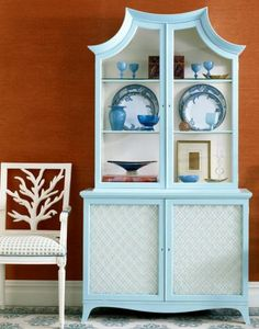 Want to repaint a pagoda cabinet in bright aqua or torqouise.
