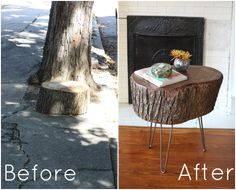 love this wonderful tree stump into table tutorial by the fabulous 17 Apart: How To: DIY Stump Table Types Of Furniture, Furniture Projects, Wood Projects, Woodworking Projects, Rustic Furniture, Diy Furniture, Furniture Stores, Tree Stump Table, Tree Stumps