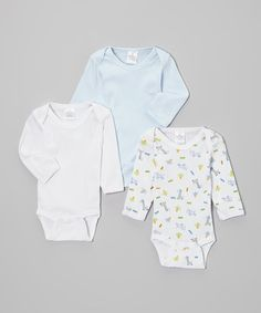 Take a look at this Blue & White Long-Sleeve Bodysuit Set by Bambini Layette on #zulily today!