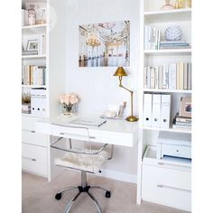 We could definitely see ourselves setting up shop in this cream, white and gold built-in office nook. How about you? {Photo: Kim Christie | Design: Kim Calabrigo}