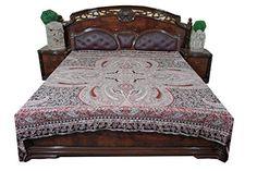 India Pashmina Bedspread Blanket Brown Self Design Jamawar Paisley Bedding, Floral Bedspread, Bohemian Bedspread, Boho Bedding, Red And Black Bedding, Purple Bedding, Indian Bedding, Moroccan Bedding, Black Blanket