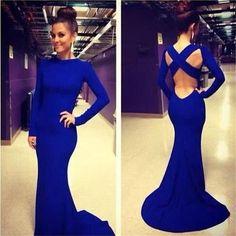 Mermaid Long Sleeves Sexy Royal Blue Backless Cross Back Evening Long Prom Dress, PD0133