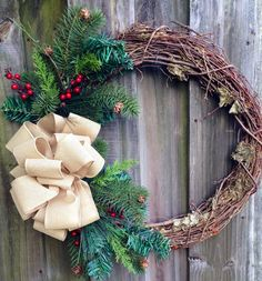 Simple winter grapevine wreath with burlaplook by ByJennaWithLove, $55.00