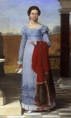 1822 - blue dress and shawl
